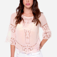 Sing Your Praises Peach Lace Top