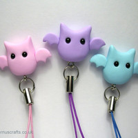 Phone Charm - Little Bat Halloween Phone Charm Key Ring Strap various colours