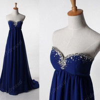 2014Beads Crystals Road Blue Sweetheart Strapless Backless A-Line Long Ruffled Bridesmaid Dress,Court Train Chiffon Evening Party Prom Dress
