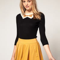 ASOS Knitted Sweater With Metallic Bow Tie