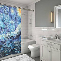 """MoMa Collection The Starry Night Design Fabric Shower Curtain Size: 70"""" x 72"""""""