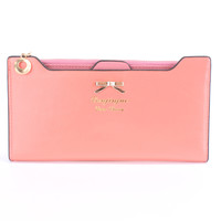 Coral High Polish Bow Accent Wallet Clutch