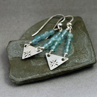Silver Triangle Chevron Earrings with Apatite Gemstones