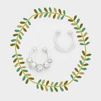 Tiny Rhinestone Faux Nose Ring Set, Fake Septum Piercing Set
