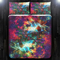 Outer Space Nebula Red Galaxy Duvet Cover Bedding Queen Size King Twin Blanket Sheet Full Double Comforter Toddler Daybed Kid Teen Dorm
