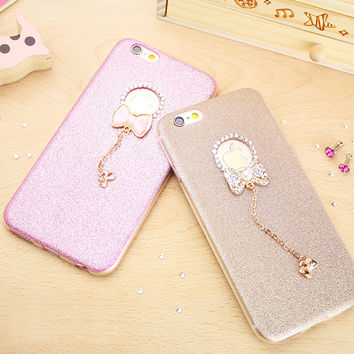 Fashion Glitter Bling Crystal Case For iphone 7 Case For iphone7 Plus 6 6S 5 5S SE Luxury Shine Bowknot Phone Cases Back Cover