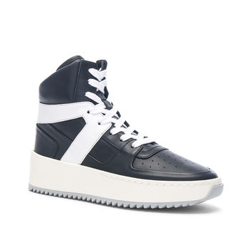Fear of God Leather Basketball Sneakers in Black & White | FWRD