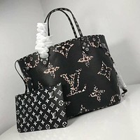 LV Louis Vuitton Women Leather Shoulder Bags Satchel Tote Bag Handbag Shopping Leather Tote Crossbody
