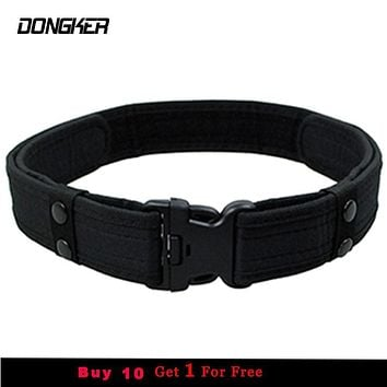Combat 2 Inch Canvas Duty Tactical Sport Belt with Plastic Buckle Army Military Adjustable Outdoor Fan Hook & Loop Waistband