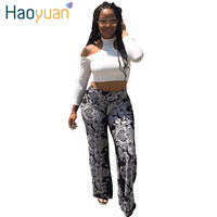 Autumn Women 2 Two Piece Jumpsuits Bodycon Summer Elegant Sexy Club Rompers T Shirt Long Pants Wide Legs Overalls Full Bodysuit