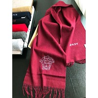 Versace Autumn And Winter New Fashion Embroidery Human Head Letter Women Tassel Scarf Burgundy