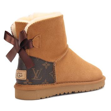 LV Louis Vuitton UGG new product print color matching couple mid-cut boots Shoes