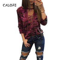 CALOFE 2018 Plus Size Women Sexy T-shirt Camouflage V Neck Lace Up Tshirt Feminino lace UP Tp Tees Loose Bandege Harajuku Tunic