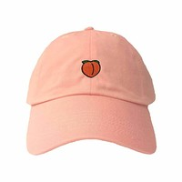 Adult Peach Emoji Embroidered Dad Hat