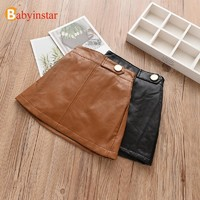 Babyinstar 2018 New Arrival Girls Skirt Solid Ruffles Leather Skirt Toddler Children Clothing Baby Girls Daily Skirts