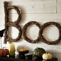Lit Twig Boo Sign