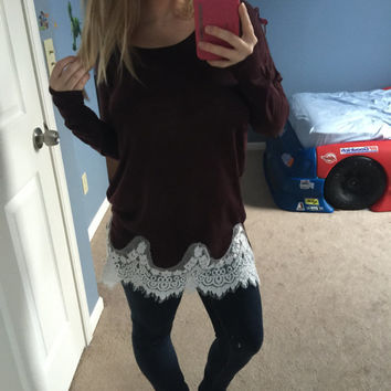 Lace Trim Sweater Cute Oversized Sweater Knit Sweater Lightweight Sweater Maroon Sweater Holiday Sweater Women's Sweater Tunic Sweater Long