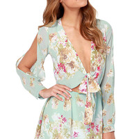 Aqua Floral Deep V-Neck Front-Tie Cutout Sleeves Mini Dress