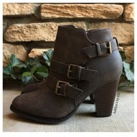 """Style and Flare"" Always Faithful Chocolate Brown Heel Bootie Boots"