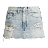 Distressed Denim Miniskirt