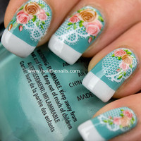 Vintage Rose & Lace  Nail Art Water Transfer Decal by Hailthenails