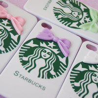 Starbucks Inspired Hard Iphone 4 4s with Bowtie Cell Phone Case