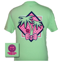 Girlie Girl Originals Preppy Palm Tree Bow Mint Green Bright T Shirt