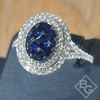 Simon G. Pave Set Blue Sapphire Oval Shaped Double Halo Ring