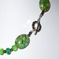 Jewelry, Necklace Set,  Green & Brown Turquoise, Lampwork Beads, and Sterling Silver, Statteam
