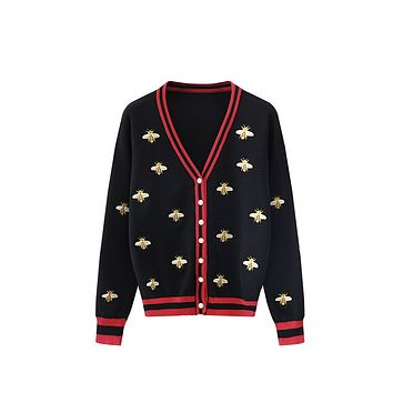 Embroidered Bee Knit Cardigan