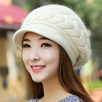 New Women Hat Winter Warm Beanies Fleece Inside Knitted Hats For Woman Rabbit Fur Cap Autumn And Winter Ladies Fashion Caps