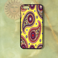 Yellow Paisley -iPhone 5 case, iphone 4s case, iphone 4 case, Samsung GS3 case-Silicone Rubber or Hard Plastic Case, Phone cover