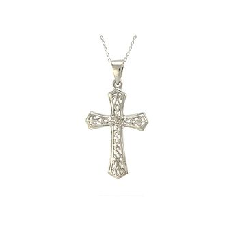 """Sterling Silver Cross Necklace with Diamond Accents, 18"""" (.02 cttw, I-J, I2-I3)"""