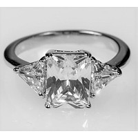 Gretchen 3ct Radiant CZ Three Stone Engagement Ring  | 4.5ct | Sterling Silver