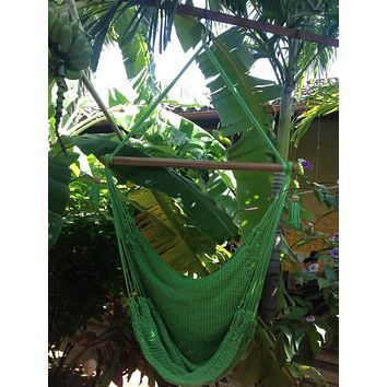 Mission Hammocks Hanging Hammock Chair Natural Cotton - Light Green