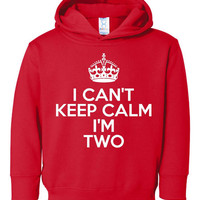 I Can't Keep Calm I'm two Great Birthday Hoodie Makes Great Gift for the Birthday Party Hooded Sweatshirt 2T 4T & 5-6 Sizes ALL COLORS