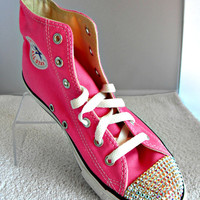 Glass Slippers Swarovski Crystal Pink Chuck Taylor Converse High Top All Star Girls Youth Sneaker Shoes