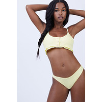 Kendall Button Up Bikini Top - Yellow