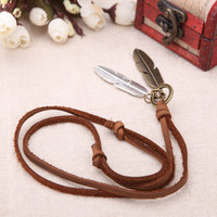 Fashion Vintage Retro Punk Leaf Pendants Genuine Leather Collar Necklace Jewelry Accessory