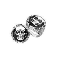 AR-8000-S-11'' Sterling Silver Designer Skull Ring With Plain Silver