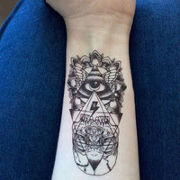 2pcs Waterproof Temporary Tattoo Sticker God Eye Totem Tattoo Body Art Fake Tattoos