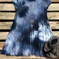 Our Highway Don't Care Dress - Grey is perfect for summer! It is a short sleeve dress with a round neck and tie dye effect. It is not lined.
