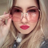 RBUDDY  Sunglasses Women Oversize Brand Designer 2017 Big Size Female Clear Lens glasses Transparent Gradient Rimless Sunglasses
