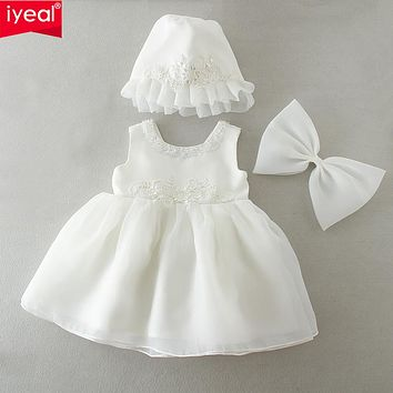 born Baby Girl Dress with Hat Bow Round Beading O-neck Christening Gowns Dresses