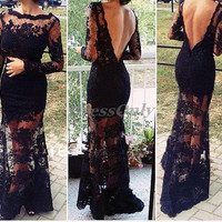Long Sleeve Prom Dress Black Mermaid Sexy Open Back Evening Dresses Wedding Party Guest Gowns Appliques Bateau Formal Gown