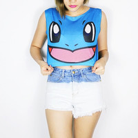 Pokemon Evolution Squirtle crop top tank shirt women S M L