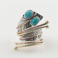 Turquoise Three Tone Sterling Silver Adjustable Leaf Wrap Ring