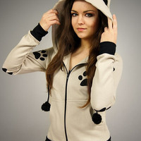 Cat hoodie Ears kitty paws kawaii beige
