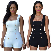 Black/White Zipper Back Bodycon Sexy Club Jumpsuits Double-breasted Short Elegant Jumpsuit Overalls Playsuits Rompers For Women