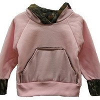 Girl's Infant/Toddler Pink Hooded Sweatshirt with Mossy Oak Camo Trim